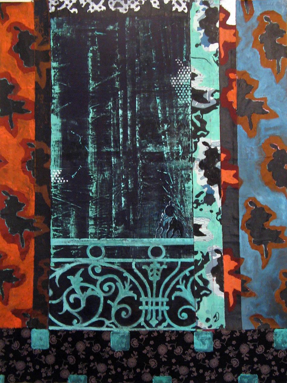 Le cavalier au balcon - Acrylique sur tissus raboutés – 114 x150 - 2009