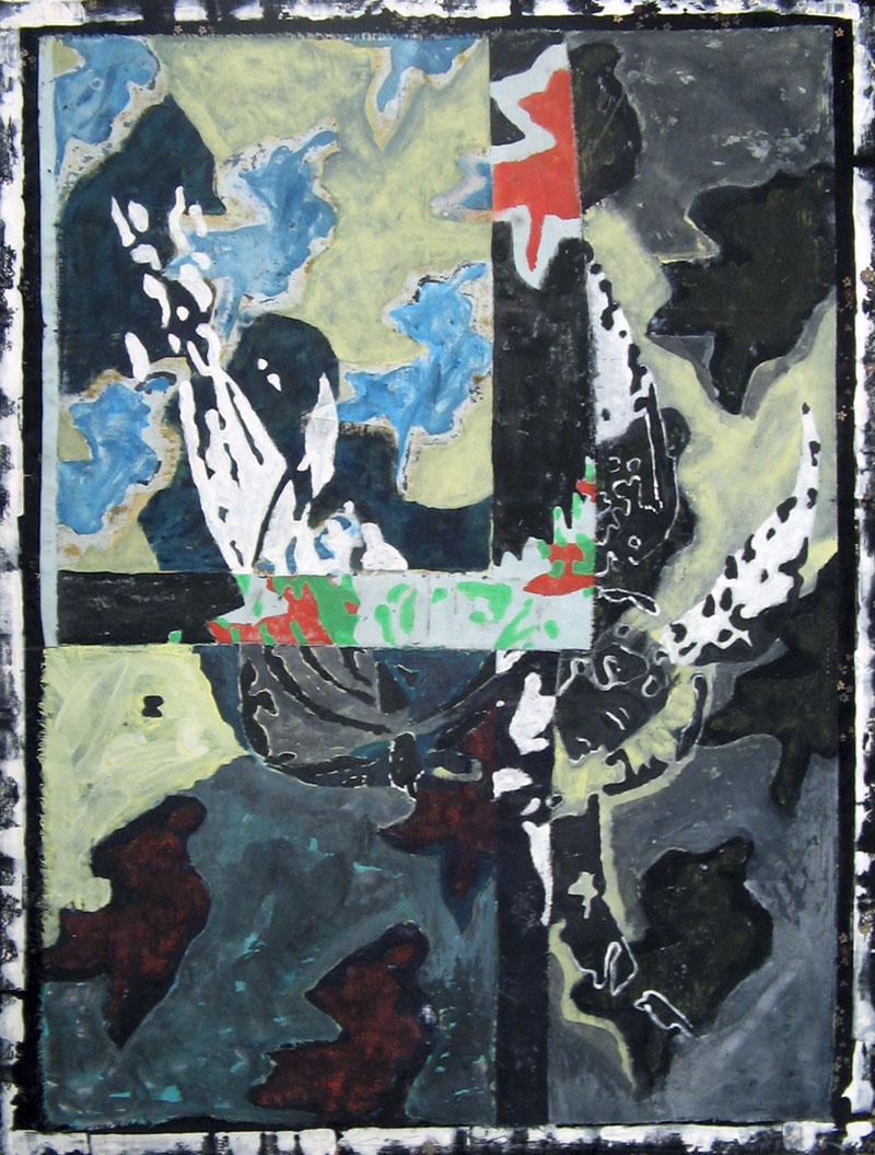 Ange bysantin- Acrylique sur tissus raboutés – 76 x 104 – 2010
