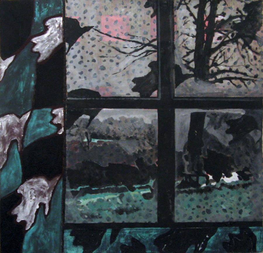 L'hivers à la fenêtre - Acrylique sur tissus raboutés - 125 x 120 -2010