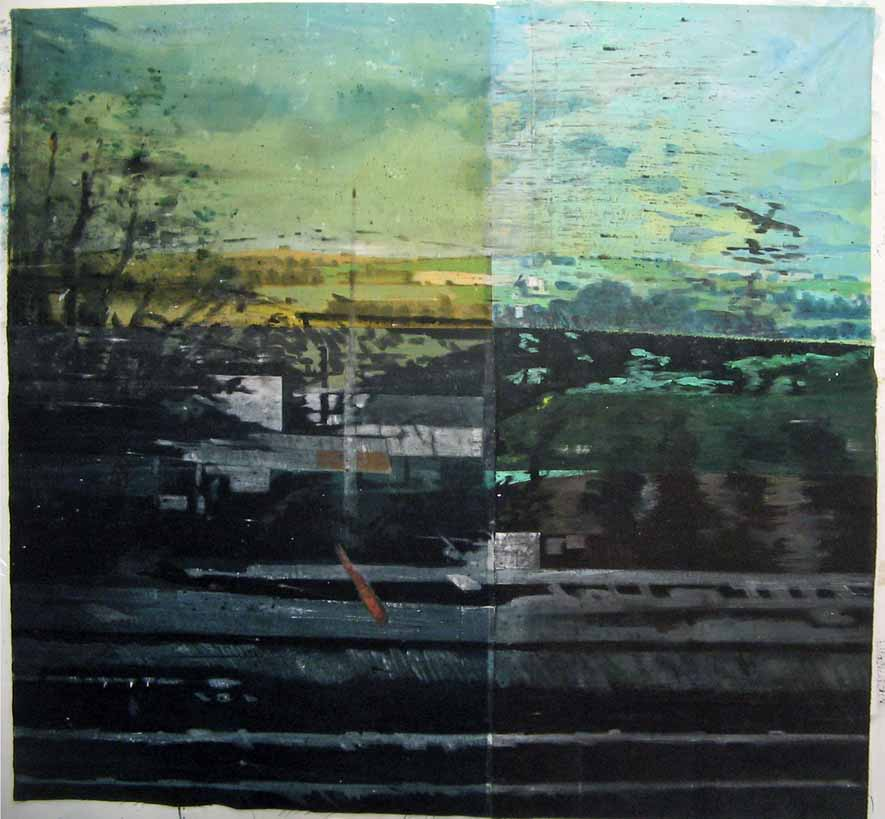 Grande vue du train - Acrylique sur tissus rabouté - 140 x 150 - 2014