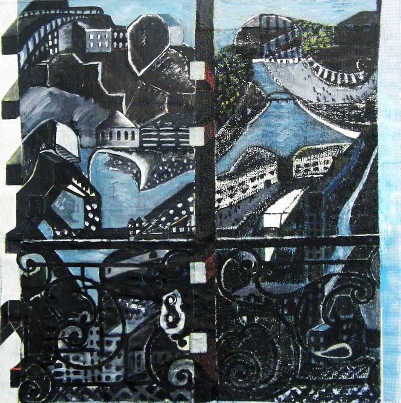 Sans titre - Acrylique sur tissus raboutés – 92 x 92 – 2010
