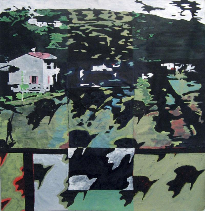 Sans titre - Acrylique sur tissus raboutés – 150 x 150 – 2010