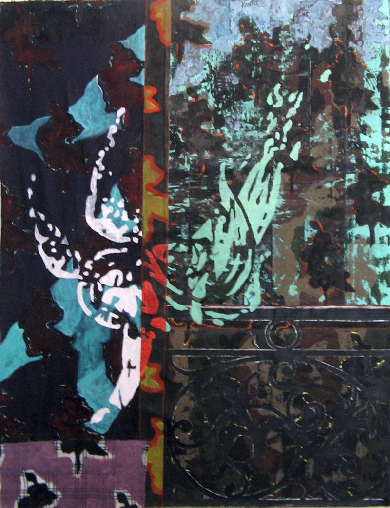 L'ange au balcon -  Acrylique sur tissus raboutés – 104 x 134 – 2009