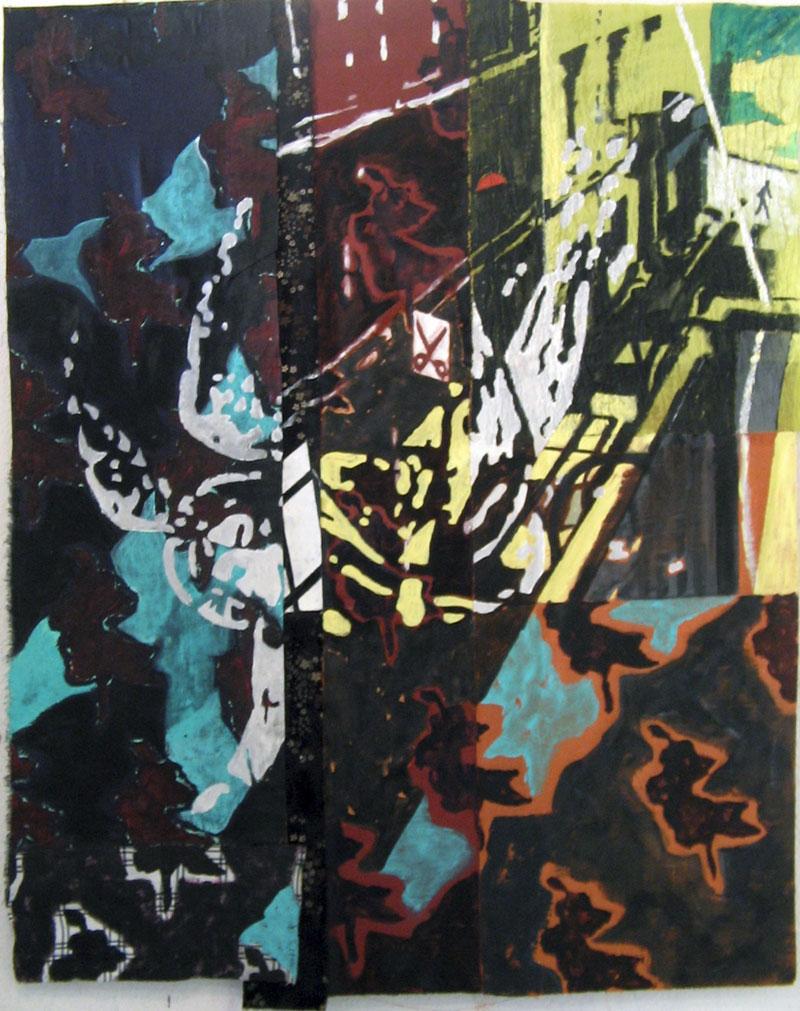 L'ange de la rue Jules Ledin -  Acrylique sur tissus raboutés – 104 x 134 – 2010