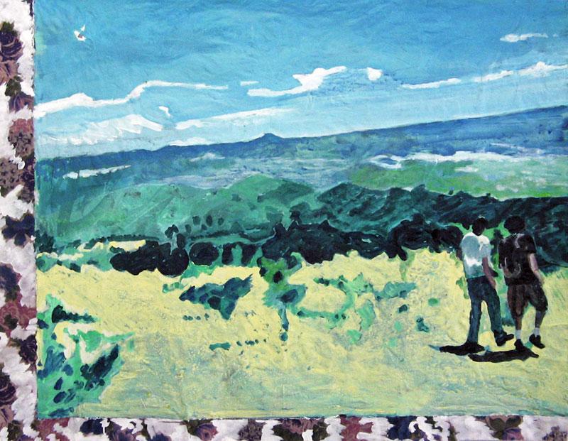 Sur la montagne Sainte-Victoire – Acrylique sur tissus raboutés - 120 x 92 - 2011