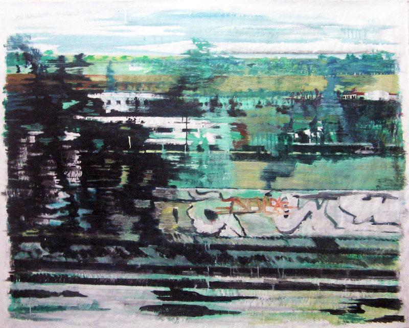 Grand paysage vue du train – Acrylique sur tissus raboutés – 156 x 123 – 2011
