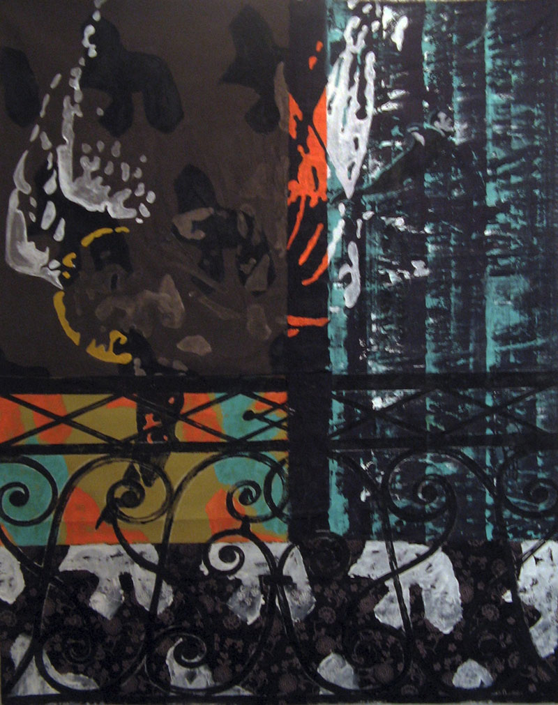 Annonciation et saut dans le vide - Acrylique sur tissus raboutés – 112 x140 – 2009