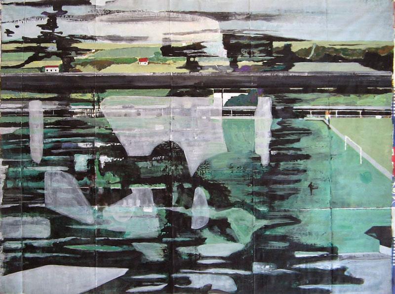 Grand paysage vue du train – Acrylique sur nappe – 143 x 106 – 2010-11