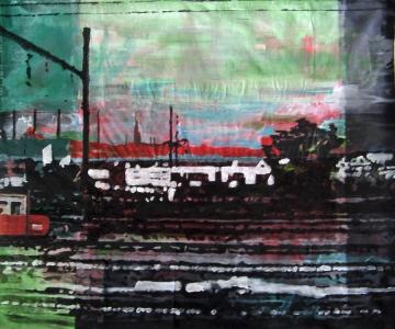 Sans titre – Acrylique sur tissus raboutés – 123 x 104 – 2011