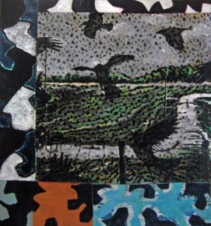 Paysage aux corbeaux -Acryl.s.tissus raboutés - 120 x 135 - 2010