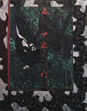 Fenêtre à l'ange noir - Acrylique sur tissus raboutés – 110 x 142 – 2009