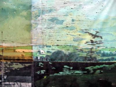 Grande vue du train - Acrylique sur tissus rabouté - 140 x 150 - 2014- Détail