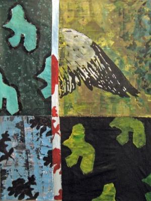 Aile -  Acrylique sur tissus raboutés – 93 x 125 – 2009