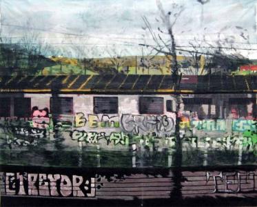 Grande vue du train-Acrylique sur tissus raboutés-140 x 115- 2013