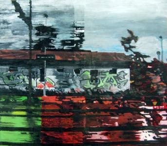 Grand paysage aux tags – Acrylique sur tissus raboutés – 145 x 129 – 2011