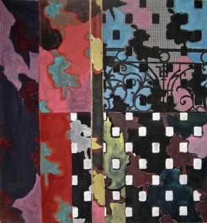 Sans titre - Acrylique sur tissus raboutés – 100 x 110 – 2009