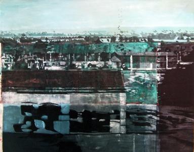 Grande vue du train - Acrylique sur tissus rabouté – 155 x 123 – 2013