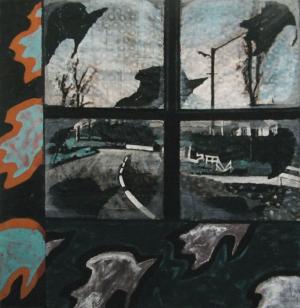 Fenêtre - Acrylique sur tissus rabouté - 93 x 95 - 2010