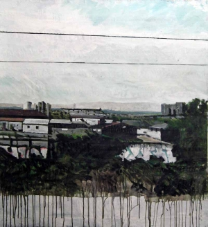 Grande vue du train-Acrylique sur tissus -112 x 122- 2013
