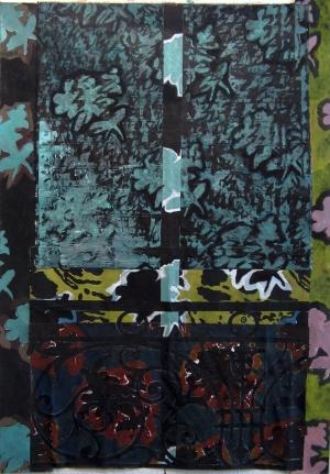 Feuillage -  Acrylique sur tissus raboutés – 88 x 130 – 2009