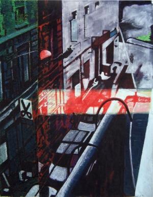 Saut dans le vide dans la rue Jules Ledin - Acrylique sur tissus raboutés - 103 x 133 – 2011