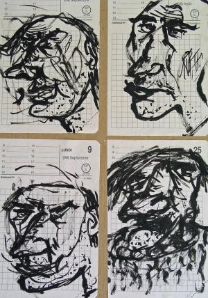 '' Têtes '' – Ancre sur papier– 1995