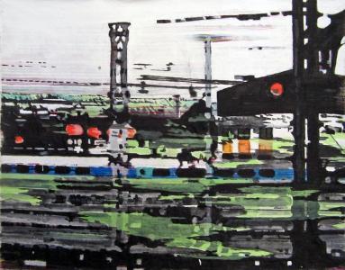Sans titre – Acrylique sur tissus raboutés – 140 x 112 – 2011