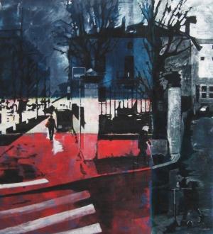 Place Carnot - Les trois âges de la vie - Acrylique sur tissus raboutés - 110 x 120 – 2011