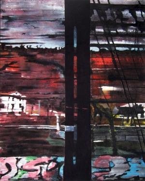 Sans titre – Acrylique sur tissus raboutés - 100 x 124 - 2011