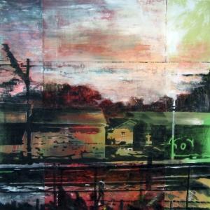 Sans titre – Acrylique sur tissus raboutés -130 x 135 - 2011