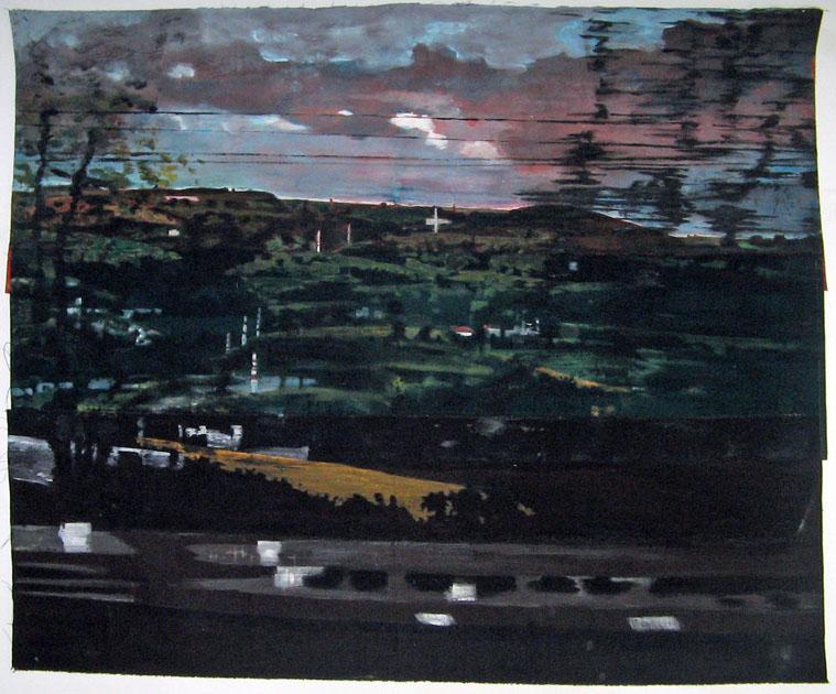 Grande vue du train - Acrylique sur tissus rabouté - 150 x 122 - 2014